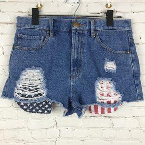 Forever 21 Women Shorts Blue American Flag Jean 29